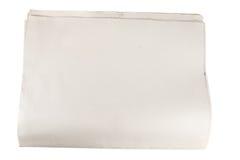 Documento in bianco del giornale su bianco isolato Immagine Stock Libera da Diritti