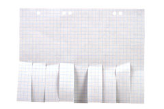 Documento in bianco della pubblicità con gli slittamenti del taglio Fotografia Stock
