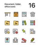 Documento coloreado, carpeta, iconos de la oficina para el web y paquete móvil 3 del diseño ilustración del vector