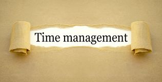 Documento com a gestão de tempo da palavra fotos de stock royalty free