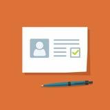 Documento con el ejemplo aprobado del vector de la marca de cotejo, datos personales doc. con el checkbox pasajero Fotografía de archivo