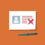 Documento con el ejemplo disminuido del vector de la marca de cotejo, datos personales doc. con el checkbox fallado Fotos de archivo
