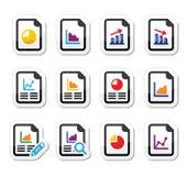 Documento con el gráfico de sectores, sistema de etiquetas del gráfico Imágenes de archivo libres de regalías