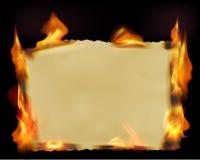 Documento con le fiamme del fuoco Immagini Stock Libere da Diritti