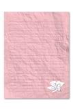 Documento de carta rosado en blanco sobre el fondo blanco Fotos de archivo libres de regalías