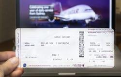Documento de embarque de Qatar Airways Fotografía de archivo libre de regalías