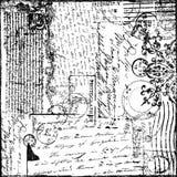 Documento de información del Victorian del collage del texto de la vendimia Foto de archivo