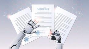 Documento de la firma de la pluma de tenencia de la mano del robot que firma para arriba la opinión de ángulo humanoid de top del libre illustration