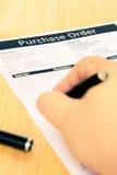 Documento de la forma de orden de compra Fotografía de archivo libre de regalías