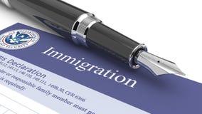 Documento de la inmigración ilustración del vector