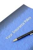 Documento de la póliza de seguro Fotografía de archivo libre de regalías