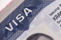 Documento de la visa Fotos de archivo libres de regalías