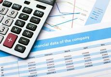 Documento de negocio Calculadora datos de las finanzas Imagen de archivo