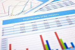 Documento de negocio datos de las finanzas Fotografía de archivo