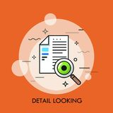 Documento de papel, lupa y ojo humano Concepto de detalle que mira, inspección del contrato, texto que verifica, exactitud ilustración del vector