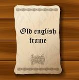 Documento de pergamino medieval viejo sobre el fondo de madera Imagen de archivo