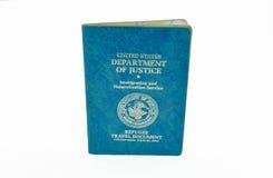 Documento de viaje del refugiado de los E.E.U.U. Foto de archivo libre de regalías