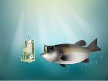 Documento del dinero del dinar iraquí sobre el gancho de pescados libre illustration