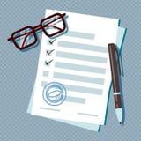 Documento del formulario de inscripción de préstamo aislado en fondo transparente stock de ilustración