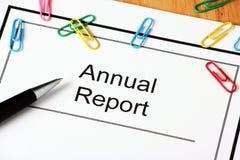 Documento del informe anual Foto de archivo