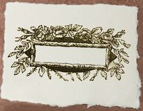 Documento del mestiere con il titolo in bianco di disegno floreale Immagini Stock Libere da Diritti