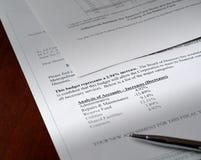 Documento del presupuesto Imagenes de archivo