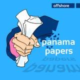 Documento del soldado de la piel del hombre de negocios de los papeles de Panamá Imagenes de archivo