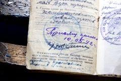 Documento del soldato dei tempi della seconda guerra mondiale Fotografia Stock