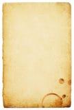 Documento dell'annata con la macchia degli anelli di caffè. Fotografie Stock