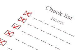 Documento dell'elemento della lista di controllo Fotografia Stock
