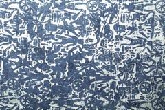 Documento di arte handmade tribale d'argento blu Immagine Stock