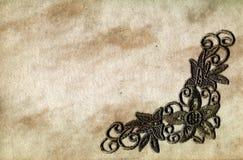 Documento di Grunge con merletto Fotografie Stock
