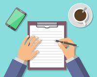 Documento di Hand Sign Business dell'uomo d'affari Immagine Stock Libera da Diritti