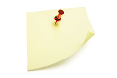 Documento di nota del post-it con l'a pressione fotografie stock libere da diritti