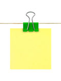 Documento di nota giallo del post-it Fotografie Stock Libere da Diritti