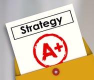 Documento A di strategia più la grande riuscita rassegna di piano del grado Immagini Stock