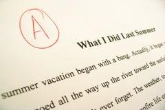 Documento di termine che mostra il grado ?di A? Immagine Stock Libera da Diritti