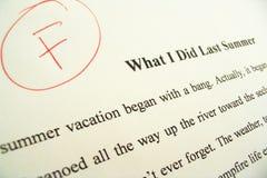 Documento di termine che mostra il grado ?di F? Fotografia Stock Libera da Diritti