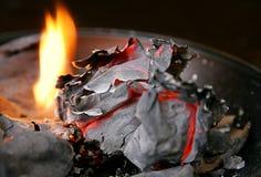 Documento e fuoco bruciati Fotografie Stock