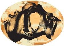 Documento e ippopotami dell'annata Immagine Stock