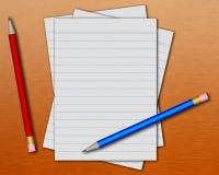 Documento e matite Immagini Stock