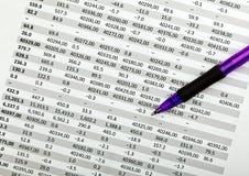 Documento e penna finanziari Fotografie Stock Libere da Diritti