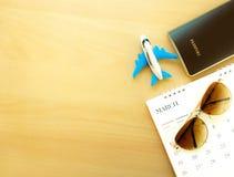 Documento ed attrezzatura per il viaggio di estate Fotografia Stock