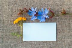 Documento en blanco y flor sobre lona Imágenes de archivo libres de regalías