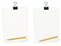 Documento fermato con l'insieme della matita illustrazione vettoriale