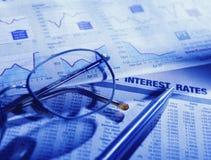 Documento finanziario del mercato azionario Fotografie Stock