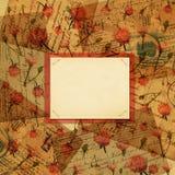 Documento, flor y carta sobre fondo de la vendimia stock de ilustración