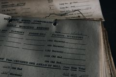 Documento rejeitado - Ba?a Estado Ferro Empresa n?o 7 mina - montanhas de Adirondack, New York imagens de stock royalty free