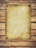 Documento retro del viejo estilo sobre la pared de madera Foto de archivo libre de regalías