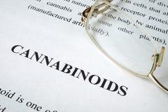 Documento sobre Cannabinoids imagenes de archivo